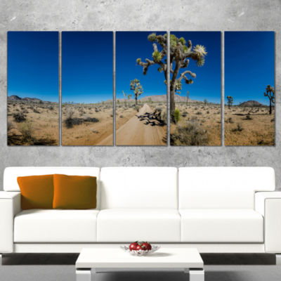 Designart Sandy Desert Road Panorama Oversized Landscape Wall Art Print - 5 Panels