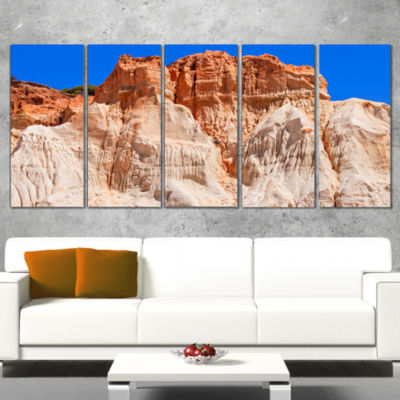 Designart Algarve Beach in Portugal Landscape Wrapped Canvas Art Print - 5 Panels
