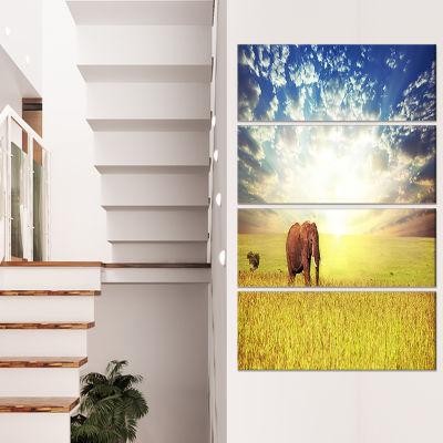Designart Savannah Elephant in Grassland Extra Large AfricanCanvas Art Print - 4 Panels