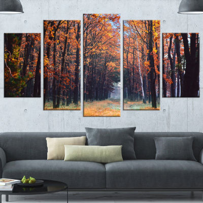 Designart Alley in The Dense Autumn Forest ForestWrapped Canvas Art Print - 5 Panels