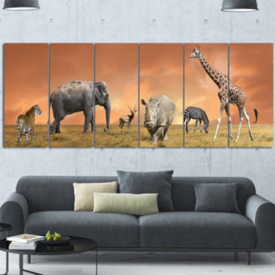 Savannah Wildlife Panorama African Canvas Art Print 6 Panels