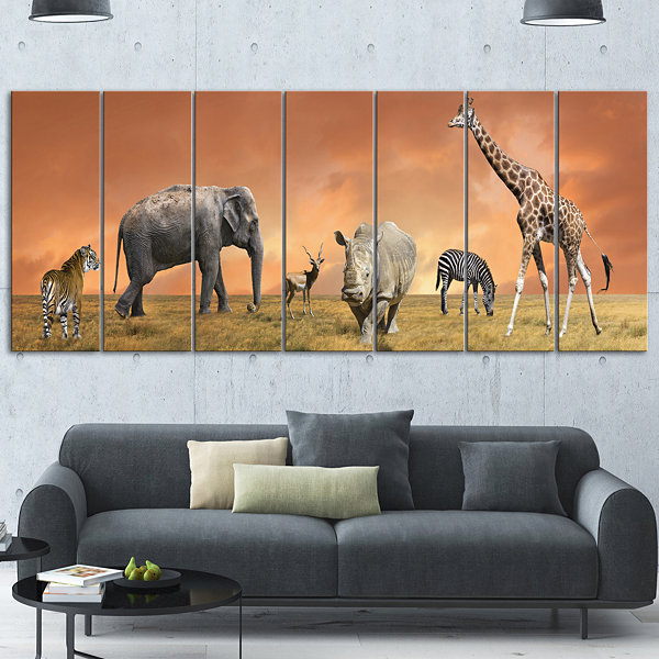 Designart Savannah Wildlife Panorama African Canvas Art Print - 7 Panels