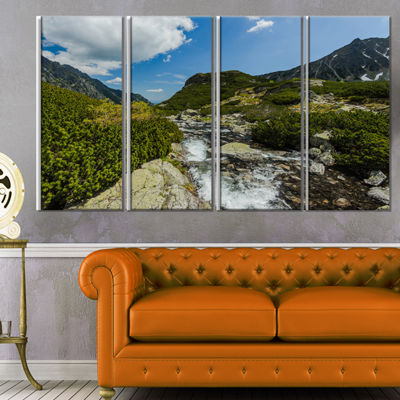 Designart Alpine Stream in High Mountains Landscape Canvas Art Print - 4 Panels