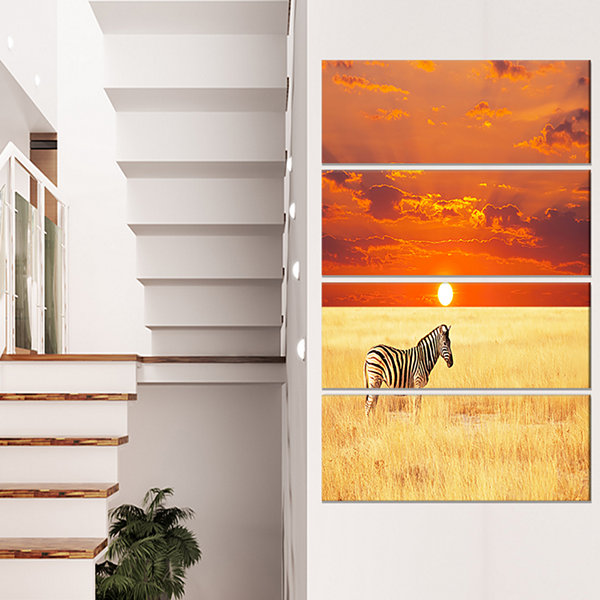 Designart Scenic African View with Zebra Extra Large Landscape Canvas Art - 4 Panels