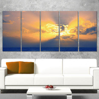 Scenic Yellow Sunset in Ocean Oversized LandscapeCanvas Art - 4 Panels