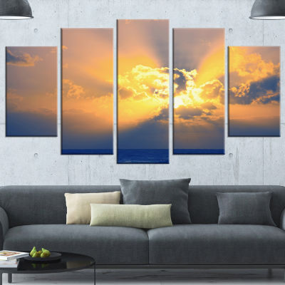 Scenic Yellow Sunset in Ocean Oversized LandscapeWrapped Art - 5 Panels