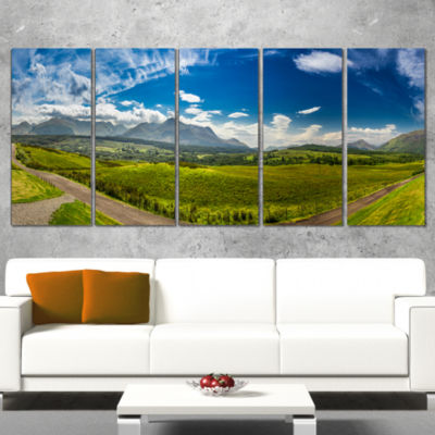 Designart Scottish Highlands Panoramic View Landscape CanvasArt Print - 4 Panels