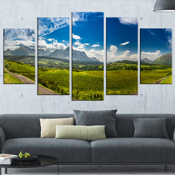 Designart Scottish Highlands Panoramic View Landscape Wrapped Art Print - 5 Panels