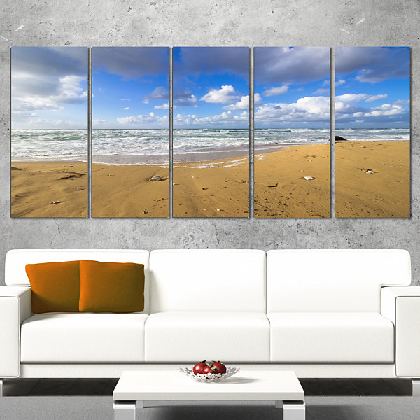 Designart Sea Beach on Cloudy Winter Day Large Seashore Canvas Print - 4 Panels