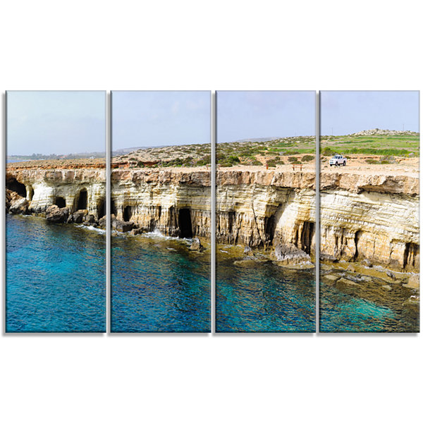 Designart Sea Caves Near Cape Greko Panorama Modern SeascapeCanvas Artwork - 4 Panels