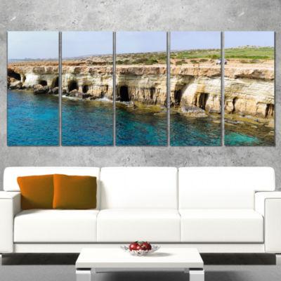 Designart Sea Caves Near Cape Greko Panorama Modern SeascapeWrapped Artwork - 5 Panels