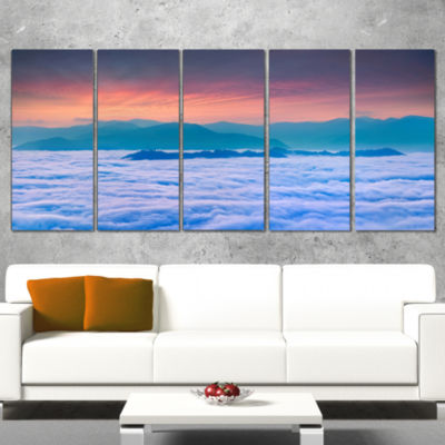Designart Sea of White Fog and Mountains LandscapePhotography Canvas Print - 4 Panels
