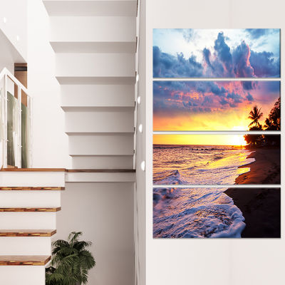 Designart Sea Sunset in Olympic Park Coast Large Seashore Canvas Print - 4 Panels