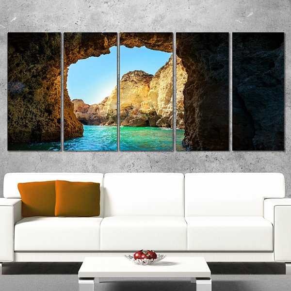 Designart Sea Through Rocky Cave Portugal Extra Large Seashore Canvas Art - 4 Panels