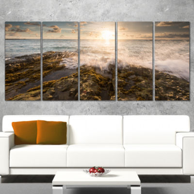 Designart Sea Waves Impact on Rocky Shore Beach Photo CanvasPrint - 5 Panels