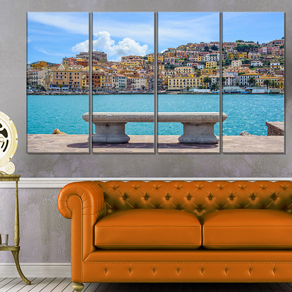 Designart Seafront Bench in Port Santo Stefano Extra Large Seashore Canvas Art - 4 Panels