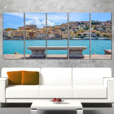 Seafront Bench in Port Santo Stefano Extra Large Seashore Canvas Art - 5 Panels