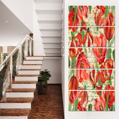 Designart Seamless Red Flower Pattern Floral Canvas Art Print - 5 Panels