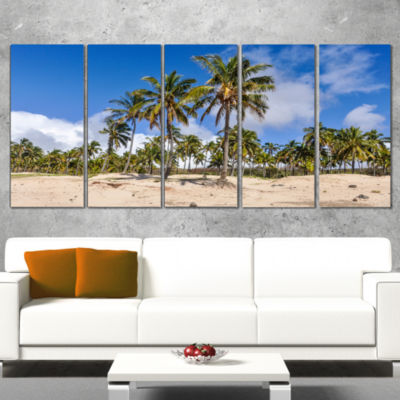 Designart Anakena Beach in Easter Island SeascapeCanvas Art Print - 5 Panels