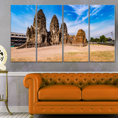 Designart Ancient Temple in Thailand Panorama Modern Seascape Canvas Artwork - 4 Panels