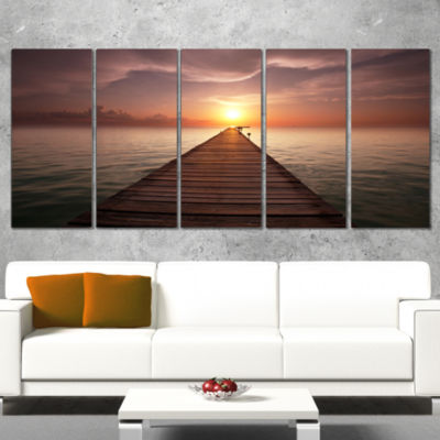 Seashore Boardwalk into the Sun Seashore Canvas Art Print - 5 Panels