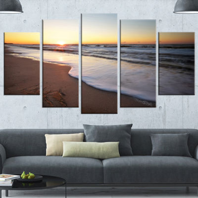 Designart Seashore Under Fiery Sunset Sky Modern Seashore Canvas Art - 4 Panels