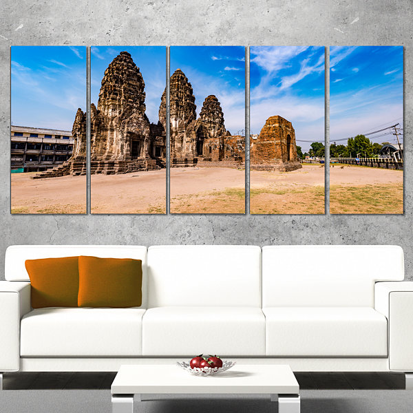 Designart Ancient Temple in Thailand Panorama Modern Seascape Canvas Artwork - 5 Panels