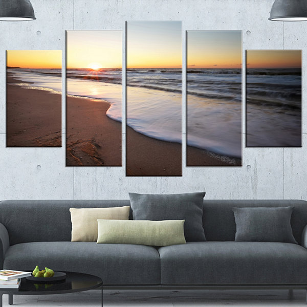 Designart Seashore Under Fiery Sunset Sky Modern Seashore Canvas Art - 5 Panels