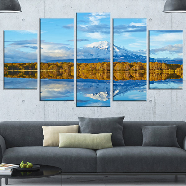 Designart Ancient Volcano and Lake Panorama Landscape Wrapped Canvas Wall Art - 5 Panels