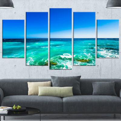 Designart Seashore with Clear Water and Sky ModernSeashoreCanvas Art - 5 Panels