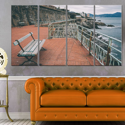 Designart Seating in Genoa Nervi Coast Extra LargeSeashoreCanvas Art - 4 Panels