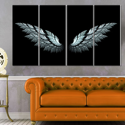 Designart Angel Wings On Black Background AbstractCanvas Art Print - 4 Panels
