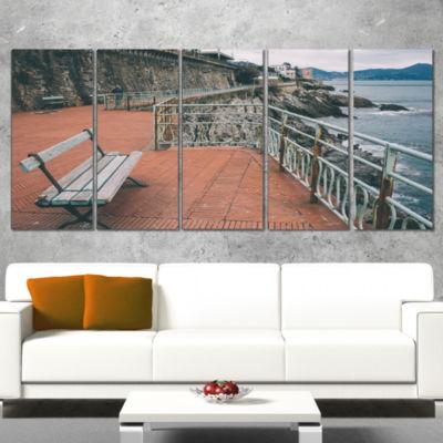 Designart Seating in Genoa Nervi Coast Extra LargeSeashoreWrapped Art - 5 Panels