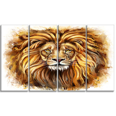 Designart Angry King of Forest Animal Art On Canvas - 4 Panels