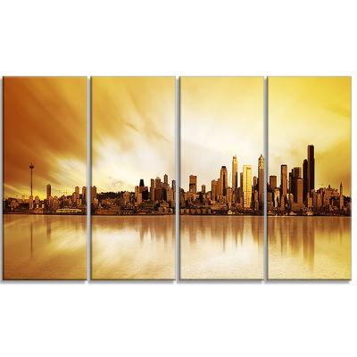 Designart Seattle Panorama Landscape Photography Canvas ArtPrint - 4 Panels