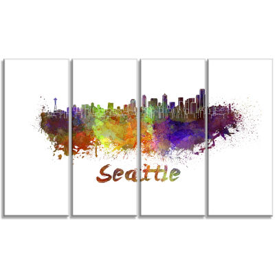 Seattle Skyline Cityscape Canvas Artwork Print - 4Panels