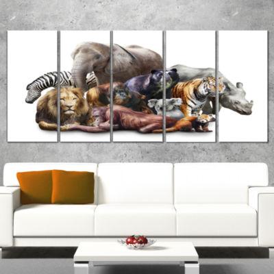 Designart Animals On White Background Abstract Canvas Art Print - 5 Panels