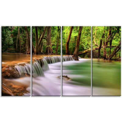 Designart Secodn Level Erawan Waterfall Photography Canvas Art Print - 4 Panels