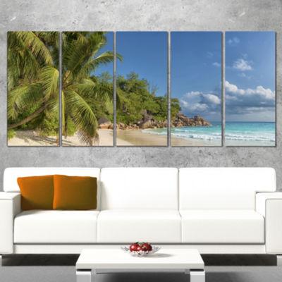 Designart Anse Georgette Beach Dark Blue Large Seascape Art Canvas Print - 5 Panels