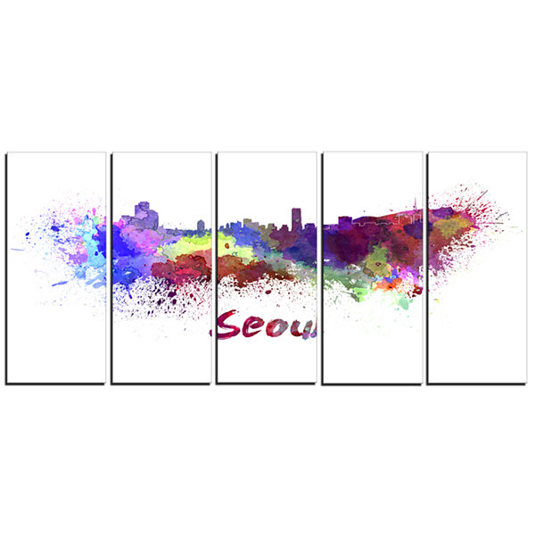 Designart Seoul Skyline Cityscape Canvas Artwork Print - 5 Panels