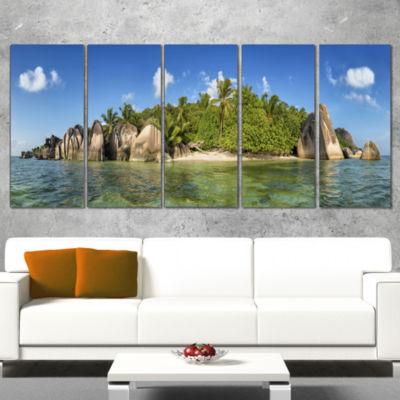Designart Anse Lazio Beach Seychelles Panorama Large Seashore Canvas Print - 5 Panels