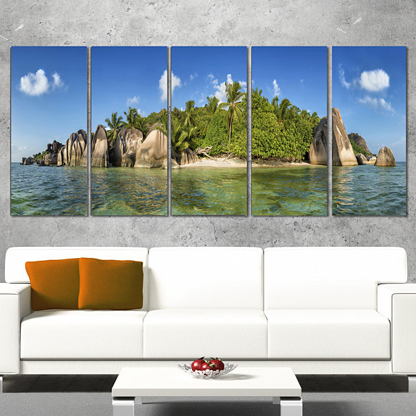 Designart Anse Lazio Beach Seychelles Panorama Large Seashore Canvas Print - 5 Panels