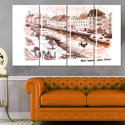 Designart Sepia Hand Drawn Sketch of Paris Cityscape CanvasArt Print - 4 Panels