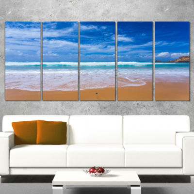 Designart Serene atlantic Seashore Portugal Seascape CanvasArt Print - 4 Panels