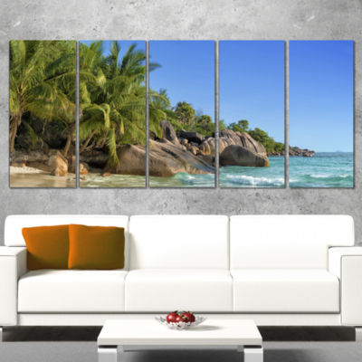 Designart Anse Lazio Praslin Island Seychelles Large Seashore Wrapped Canvas Print - 5 Panels