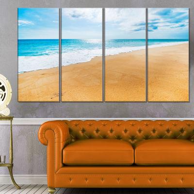 Serene Beach and Sun Daylight Modern Beach CanvasArt Print - 4 Panels