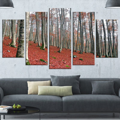 Designart Serene Fall Forest with Red Ground Modern Forest Canvas Art - 4 Panels