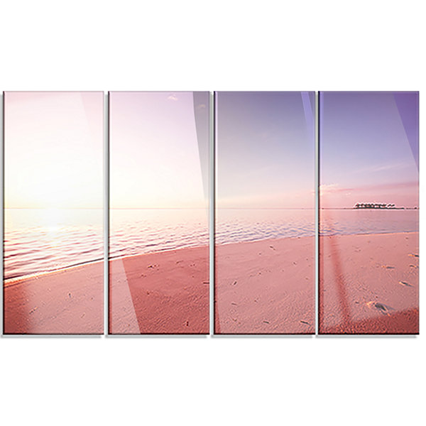 Designart Serene Maldives Seashore at Sunset Oversized Landscape Canvas Art - 4 Panels