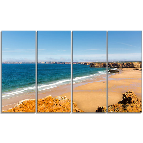 Designart Serene Rocky Bay Portugal Extra Large Seashore Canvas Art - 4 Panels