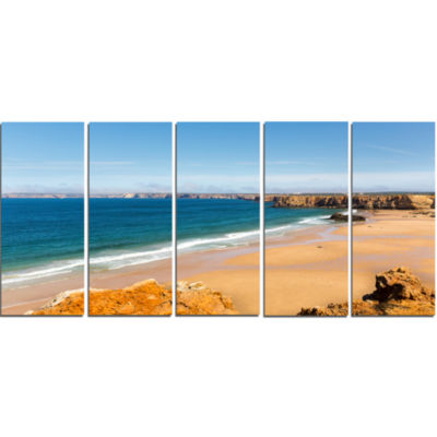 Serene Rocky Bay Portugal Extra Large Seashore Canvas Art - 5 Panels